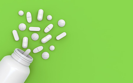 Medicine bottle pills on green background - 3d illustration