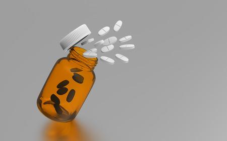 Medicine pills spilling out of bottle - 3d illustration Stok Fotoğraf - 120025297