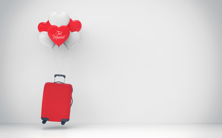 Travel concept suitcase balloon - 3d illustration