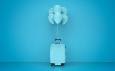 Suitcase balloons travel concept design - 3d illustration Stok Fotoğraf - 122215986