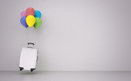 Suitcase balloons travel concept design - 3d illustration Stok Fotoğraf