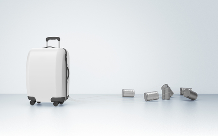 Suitcase with jars, honeymoon concept - 3d illustration