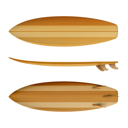 Surfboard Wood front back side view isolated on white background in vector format Stok Fotoğraf - 123753180