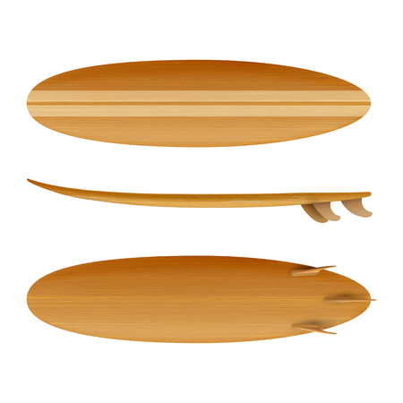 Surfboard Wood front back side view isolated on white background in vector format Stok Fotoğraf - 123753181