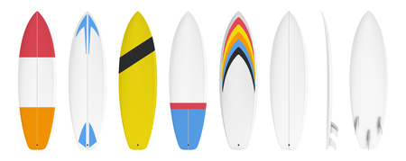 Surfboard set custom design isolated on white background in vector format Stok Fotoğraf - 123687501