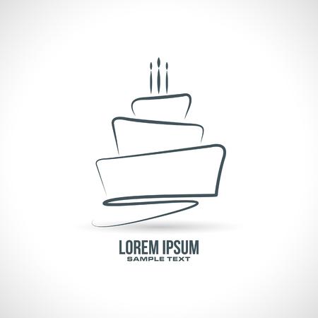 Birthday Cake sketch design in vector format