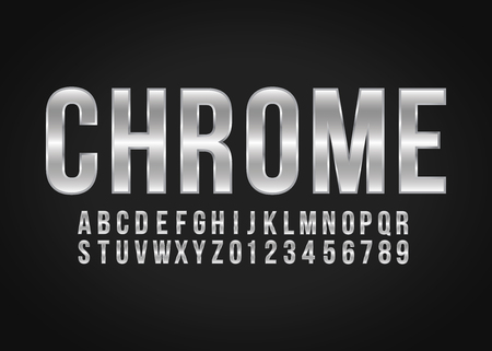 Font alphabet number Chrome effect in vector format Çizim