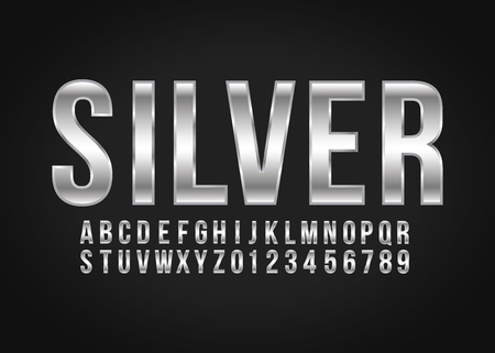 Font alphabet number Silver effect in vector format