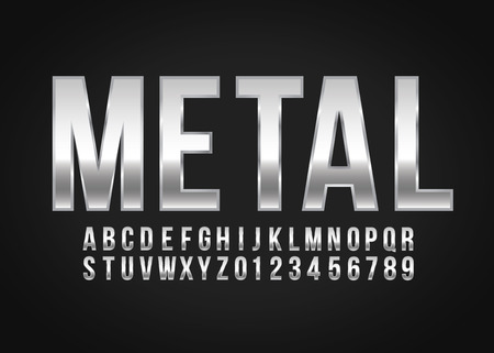 Font alphabet number Metal effect in vector format Иллюстрация