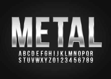 Lettertype alfabet nummer Metaaleffect in vectorformaat
