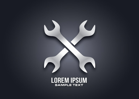 Wrench repair service  icon design silhouette in vector format