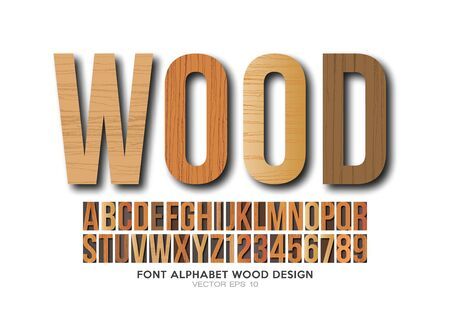 Font alphabet wood letterpress in vector format 向量圖像