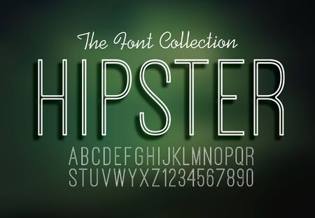 Slim thin font alphabet and numbers hipster design in vector format