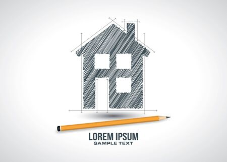 House sketch project icon  design in vector format