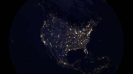 USA North American map city lights  night, 3d illustration Standard-Bild
