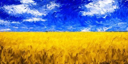 Landscape field grain impressionist oil painting vibrant color