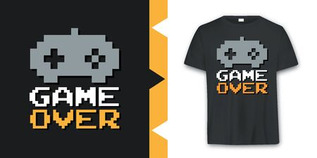 Graphic joypad arcade game T-shirt Design in vector format Çizim