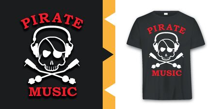 Graphic Pirate skull music T-shirt Design in vector format