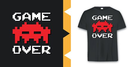 Graphic vintage Arcade game T-shirt Design in vector format Çizim