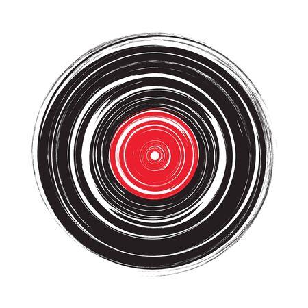 Vinyl record draw sketch in vector format Illustration