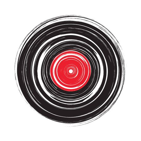 Vinyl record draw sketch in vector format 矢量图像