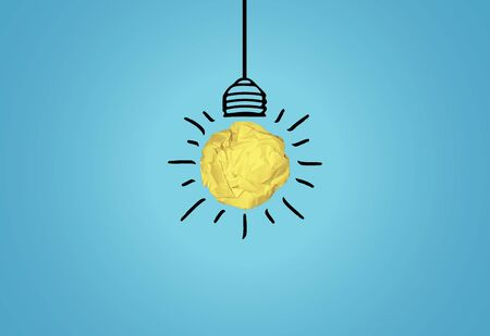 Light bulb idea concept used paper ball on blue backgroundl in vector format