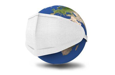 Earth put mask, World virus attack concept, 3d illustration