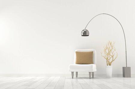 Living room interior design mockup, 3D rendering illustration Standard-Bild