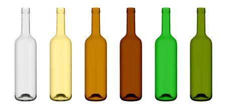 Set of empty wine bottles in different coloring, 3d illustration mockup