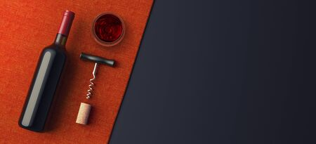 Top view wine bottle and corkscrew on red tablecloth, mockup presentation