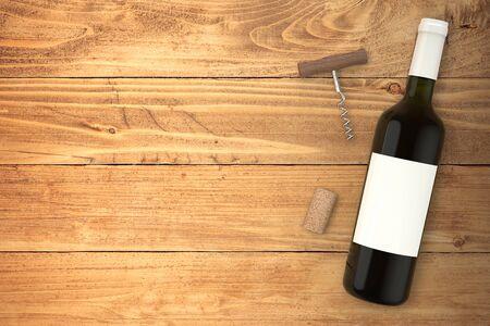 Wine bottle top view mockup presentation