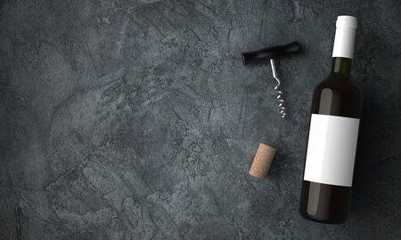 Wine bottle top view on stone background Standard-Bild