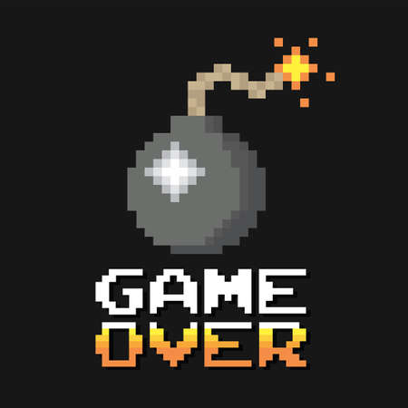 Pixel graphic bomb game over concept in vector format Vector Illustration