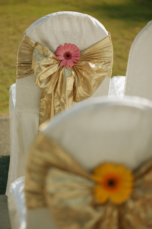 Chairs with ribbons around them