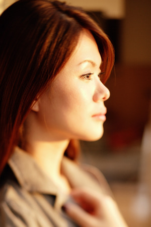 Young woman in profile, portrait