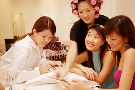 Young women at a beauty salon Stock Photo