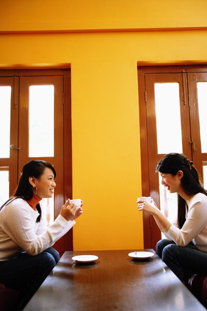 Young women sitting in living room opposite each other, holding cups of coffee Banco de Imagens