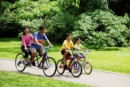 公園で家族サイクリング