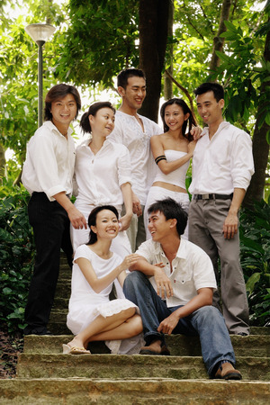 adults: Young adults posing for camera