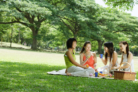 cup four: Young women picnicking in park