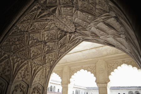 Stone carvings on an archway of the Agra Fort, Agra, India