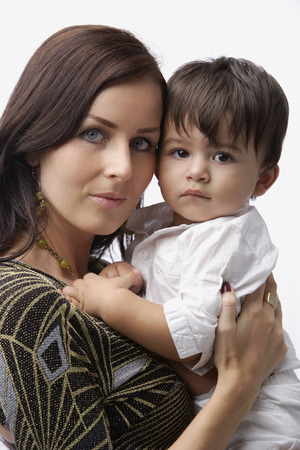 european ethnicity: mother holding baby boy
