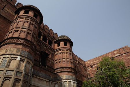 Close up of minarets of the Agra Fort, India LANG_EVOIMAGES