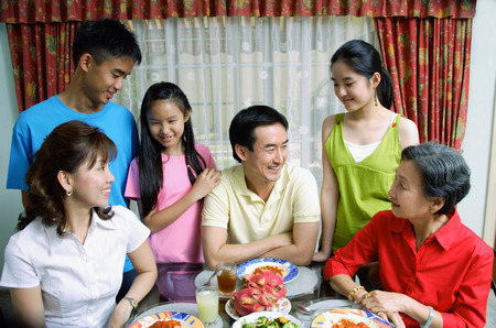 three generation: Three generation family at home LANG_EVOIMAGES
