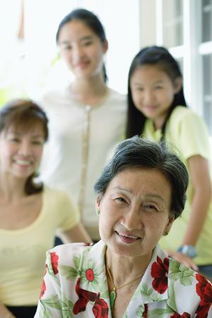 three generation: Three generation family of females, selective focus