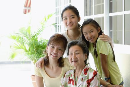 three generation: Three generation family, looking at camera, smiling