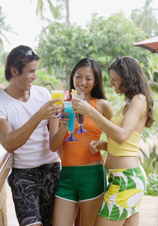 adults: Young adults with drinks, toasting