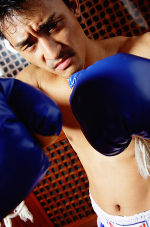 Man with boxing gloves, looking at camera