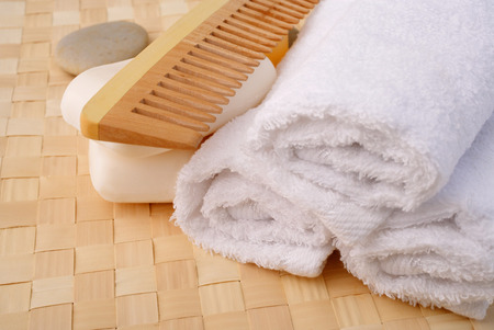 productos de aseo: Still life of bath toiletries, comb, bar of soap and towel LANG_EVOIMAGES