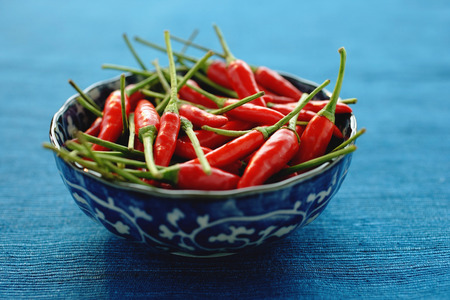 Still life of chilies in bowl Stok Fotoğraf